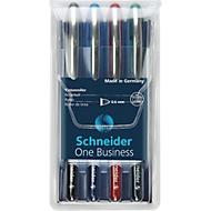 Schneider rollerbalpen One Business, diverse kleuren in etui met 4 stuks