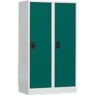 Schoollocker, compartimentbreedte 400 mm, 2 compartimenten, lichtgrijs/opaalgroen