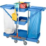 schoonmaakwagen, met 2 houders voor afvalzakken van 120 l