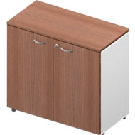 Schrank ARLON OFFICE, 2 Ordnerhöhen, abschließbar, B 900 x T 450 x H 816 mm, Nuss Canaletto-Dekor/weiß
