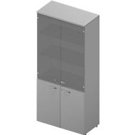 Schrank ARLON OFFICE, 5 Ordnerhöhen, 2 Glastüren, 2 Melamintüren, H 2000 mm, lichtgrau/alu
