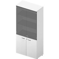 Schrank ARLON OFFICE, 5 Ordnerhöhen, 2 Glastüren, 2 Melamintüren, H 2000 mm, weiß/weiß