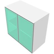Schrank SOLUS, Glastüren, satiniert, 2 OH, H 760 x B 800 x T 440 mm, weiß/Kirsche-Romana