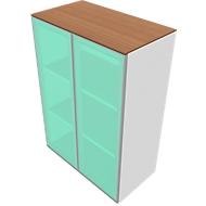 Schrank SOLUS, Glastüren, satiniert, 3 OH, H 1123 x B 800 x T 440 mm, weiß/Kirsche-Romana