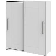 Schrank TEQSTYLE, 3 OH, B 1600 mm, 2-türig mit Rahmenfront, 3 Fächer in OH, 1 Fach in CD-Höhe, weiß/weiß