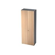 Schrank TOPAS LINE, Garderobenschrank, 6 Ordnerhöhen, B 800 mm, graphit/Eiche-Dekor