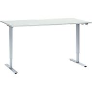 Schreibtisch, 1-stufig elektrisch höhenverstellbar, B 1600 mm, H 705-1205 mm, lichtgrau