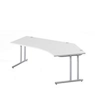 Schreibtisch 135° COMBITEC, B 2165 x T 800 x H 677 - 817 mm, lichtgrau/weißalu