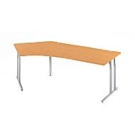 Schreibtisch 135° COMBITEC, C-Fuß, Freiform, Ansatz links, B 2165 x T 800 x 677 - 817 mm, Buche/weißalu