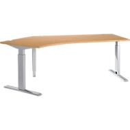 Schreibtisch 135° ERGO-T, T-Fuß, Ansatz links, man. höhenverstellbar, B 2165 mm, Kirsche Romana