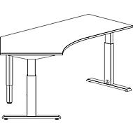Schreibtisch 135° ERGO-T, T-Fuß, Ansatz links, man. höhenverstellbar, B 2165 mm, lichtgrau