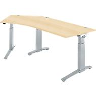 Schreibtisch 135° PLANOVA ERGOSTYLE, Ansatz links, 1-stufig elektrisch h.verstellbar, B 2165 mm, A.-Dekor/w.alu
