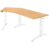 Schreibtisch 135° PLANOVA ERGOSTYLE, Ansatz links, 1-stufig elektrisch h.verstellbar, B 2165 mm, B.-Dekor/weiß