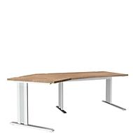 Schreibtisch 135° PLANOVA ergoSTYLE, Ansatz links, höhenverstellbar, B 2165 mm, Ki. R.-D./w.
