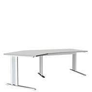 Schreibtisch 135° PLANOVA ergoSTYLE, Ansatz links, höhenverstellbar, B 2165 mm, lichtgrau/w.