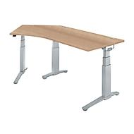 Schreibtisch 135° PLANOVA ergoSTYLE, Ansatz links, zweist. elektr. höhenverstellbar, B 2165 mm, K. R.-D./w.alu