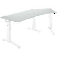Schreibtisch 135° PLANOVA ERGOSTYLE, Ansatz rechts, 1-stufig elektrisch h.verstellbar, B 2165 mm, l.grau/weiß