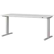 Schreibtisch Agenda, einstufig elektrisch höhenverstellbar, T-Fuß, B 1600 x T 800 x H 730-1200 mm, lichtgrau/silber
