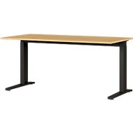 Schreibtisch Agenda Home, C-Fuß, höhenverstellbar, B 1600 x T 800 x H 680-880 mm, Eiche/schwarz