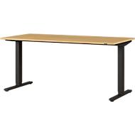 Schreibtisch Agenda Home, einstufig elektrisch höhenverstellbar, T-Fuß, B 1600 x T 800 x H 730-1200 mm, Eiche/schwarz