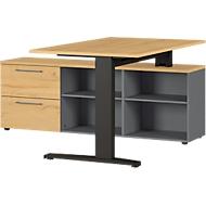 Schreibtisch Agenda Home, mit Sideboard, B 1590 x T 1400 x H 670-870 mm, Graphit/Eiche