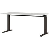 Schreibtisch Agenda, mech. höhenverstellbar, B 1600 x T 800 x H 670-870 mm, lichtgrau/schwarz