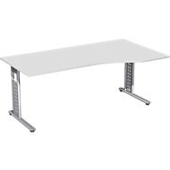 Schreibtisch ALICANTE, C-Fuß, Freiform, Ansatz rechts, B 1800 x T 800/1000 x H 680-820 mm,
