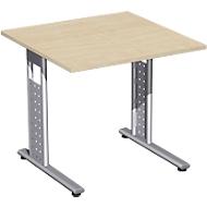 Schreibtisch ALICANTE, C-Fuß, Rechteck, B 800 x T 800 x H 680-820 mm, Ahorn-Dekor