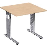 Schreibtisch ALICANTE, C-Fuß, Rechteck, B 800 x T 800 x H 680-820 mm, Buche-Dekor