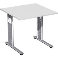 Schreibtisch ALICANTE, C-Fuß, Rechteck, B 800 x T 800 x H 680-820 mm, lichtgrau