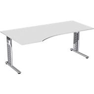 Schreibtisch ALICANTE, Freiform, Ansatz links, B 1800 x T 1000/800 x H 680-820 mm, lichtgrau