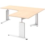 Schreibtisch, Ansatztisch rechts BARI, C-Fuß, Form B, Freiform, B 1800 mm, Ahorn-Dekor