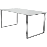Schreibtisch AXXETO, Kufengestell, Rechteck, B 1600 x T 800 x H 680 - 820 mm, lichtgrau