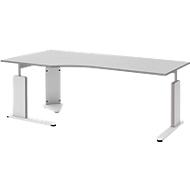 Schreibtisch BARI, C-Fuß, Form B, Freiform, Ansatz rechts, B 2000 mm, hellgrau
