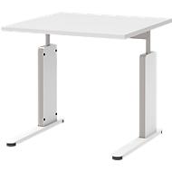 Schreibtisch BARI, C-Fuß, Form B, Rechteck, B 800 x T 800 x H 680 - 820 mm,  weiß