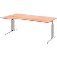 Schreibtisch BARI, Freiform, Ansatz links, C-Fuß, B 1800 x T 1000 mm,  Buche-Dekor
