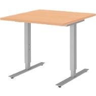 Schreibtisch BARI, T-Fuß, Rechteck, B 800 x T 800 x H 680-820 mm, Buche/Alu