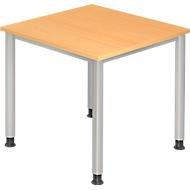Schreibtisch CLUBWORK, 4-Fuß, Quadrat, B 800 x T 800 x H 680-760 mm, Buche-Dekor