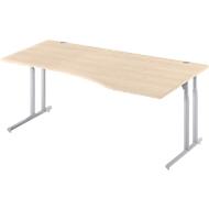 Schreibtisch COMBITEC, B 1800 x T 1000/800 mm, Ahorn/weißalu