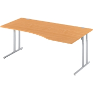 Schreibtisch COMBITEC, B 1800 x T 1000/800 mm, Buche/weißalu