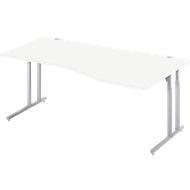 Schreibtisch COMBITEC, B 1800 x T 1000/800 mm, weiß/weißalu