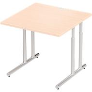 Schreibtisch COMBITEC, B 800 x T 800 x H 677 - 817 mm, Ahorn/weißalu