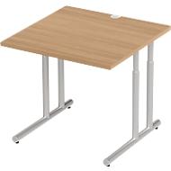 Schreibtisch COMBITEC, B 800 x T 800 x H 677 - 817 mm, Kirsche Romana/weißalu