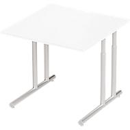 Schreibtisch COMBITEC, B 800 x T 800 x H 677 - 817 mm, weiß/weißalu