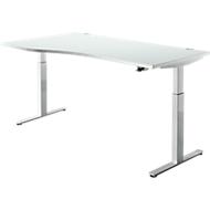 Schreibtisch DRIVE UP 1, Ansatz links, T-Fuß, Freiform, 1-stufig elektr. höhenverstellbar, lichtgrau/weißalu