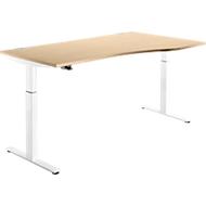 Schreibtisch DRIVE UP 1, Ansatz rechts, T-Fuß, Freiform, 1-stufig elektr. höhenverstellbar, Ahorn/weiß