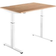 Schreibtisch DRIVE UP 1, T-Fuß, Rechteck, 1-stufig elektr. höhenverstellbar, B 1200 mm, Kirsche Romana/weiß