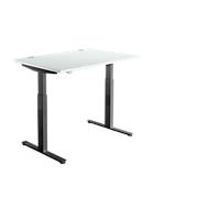 Schreibtisch DRIVE UP 1, T-Fuß, Rechteck, 1-stufig elektr. höhenverstellbar, B 1200 mm, lichtgrau/schwarz
