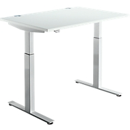Schreibtisch DRIVE UP 1, T-Fuß, Rechteck, 1-stufig elektr. höhenverstellbar, B 1200 mm, lichtgrau/weißalu
