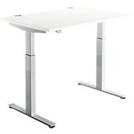 Schreibtisch DRIVE UP 1, T-Fuß, Rechteck, 1-stufig elektr. höhenverstellbar, B 1200 mm, weiß/weißalu